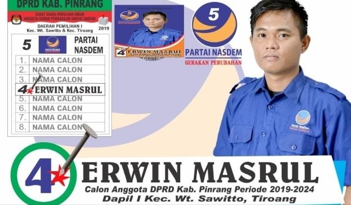 Erwin, Satu dari Bacaleg Muda Siap Bertarung di Dapil 1 Pinrang