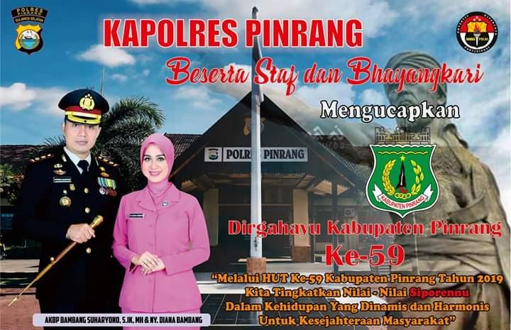 Kapolres Pinrang Mengucapkan Selamat Hari Jadi Kabupaten Pinrang Ke 59.